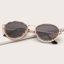 Rhinestone Decor Sunglasses