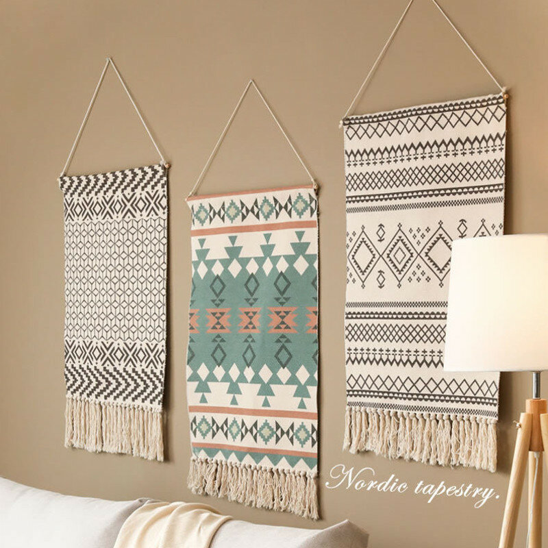 Nordic Style Tassel Tapestry Bohemian Macrame Woven Wall Hanging Handmade Knitting Tapestry Home Wall Decoration Tapestr