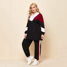 Pullover mit Farbblock und halber Reissverschlussleiste & Jogginghose mit seitlichem Streifen Set