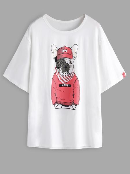 Yoins White Pug Cartoon Print Crew Neck Short Sleeve Bodycon Hem Men's T-Shirt
