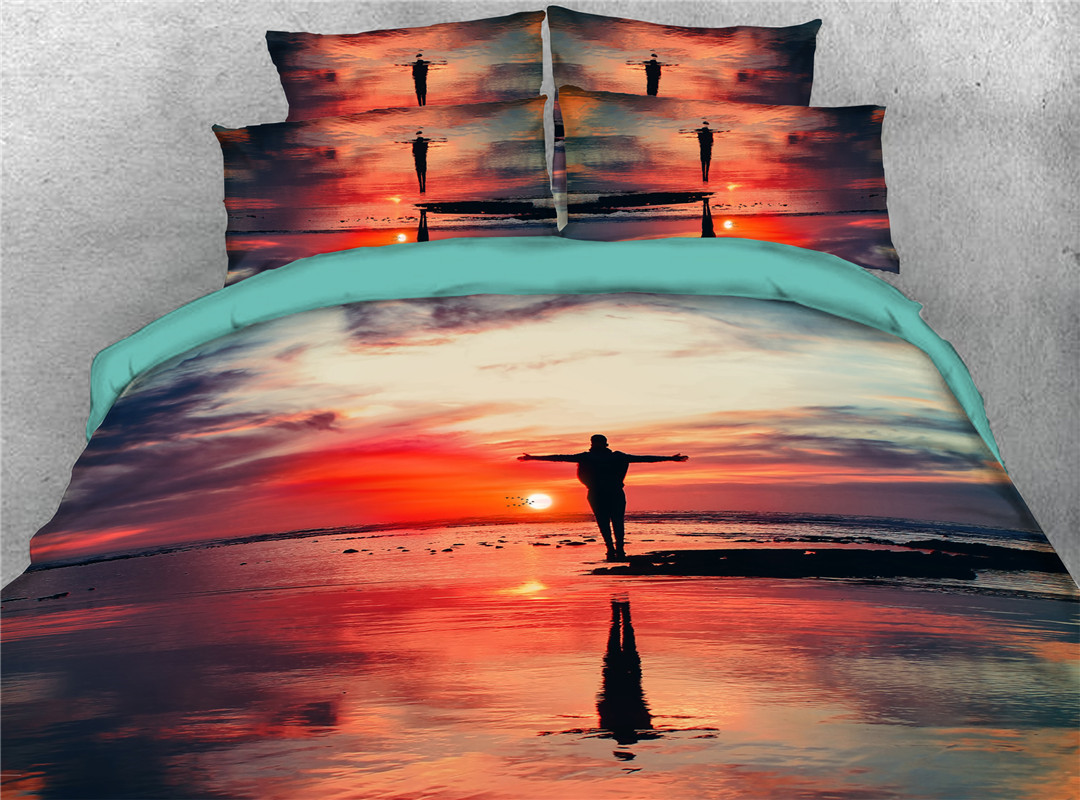 Figure Scenery Comforter Set Hand Wash Five-Piece Set Polyester Bedding Sets Wear-resistant Endurable Skin-friendly
