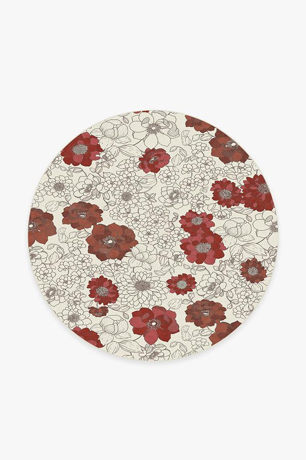 Washable Rug Cover & Pad | Floret Ruby Rug | Stain-Resistant | Ruggable | 6' Round