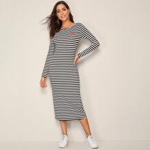 Heart Print Striped Pencil Dress