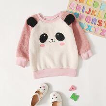 Teddy Sweatshirt mit 3D Panda Ohren Design