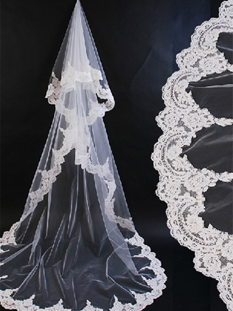 Ericdress Chapel Wedding Bridal Veil with Lace Edge