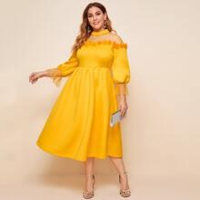 Plus Pearl Beaded Mesh Yoke 3D Floral Applique Dress