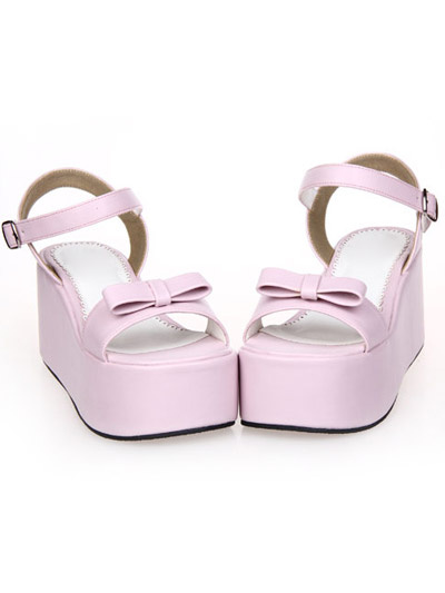 Milanoo Sweet Lolita Sandals High Platform Ankle Strap Buckle Bow