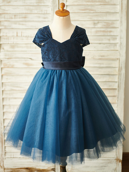Milanoo Flower Girl Dresses Dark Navy Sweetheart Neck Short Sleeves Bows Kids Party Dresses