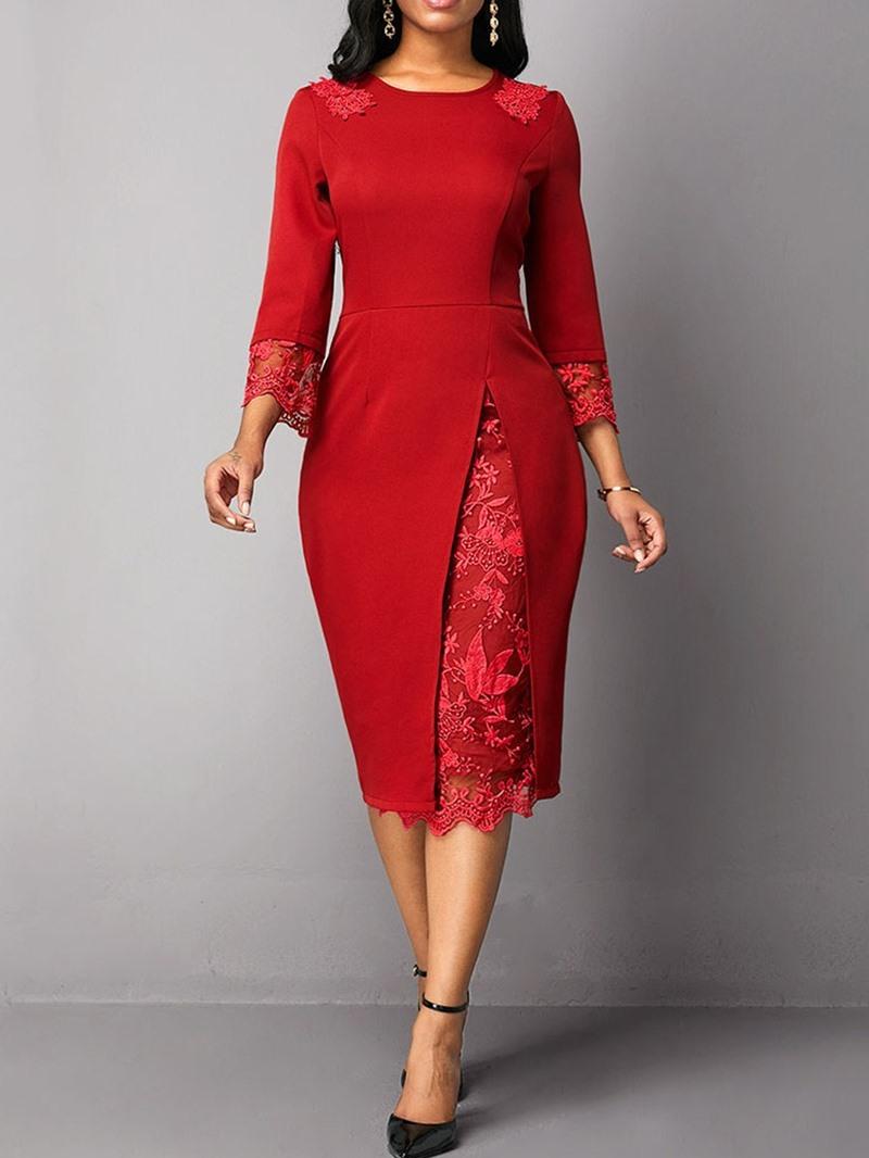 Ericdress Mid-Calf Lace Three-Quarter Sleeve Floral Regular Dress