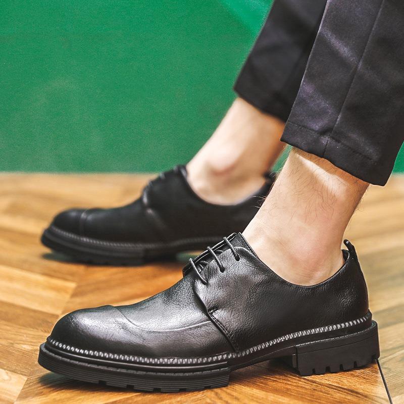 Ericdress Plain Low-Cut Upper Round Toe Men's Leather Shoes
