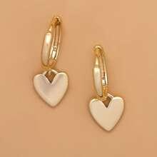 Metal Heart Drop Earrings