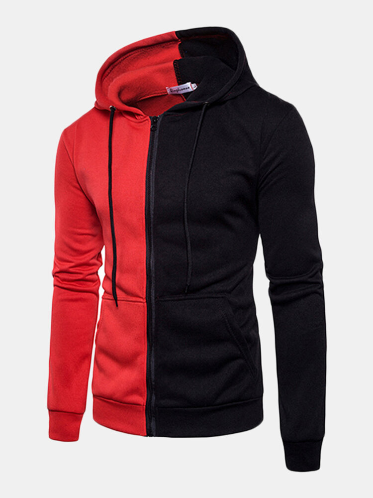 Mens Stylish Stitching Color Slim Fit Casual Zip Up Hoodies