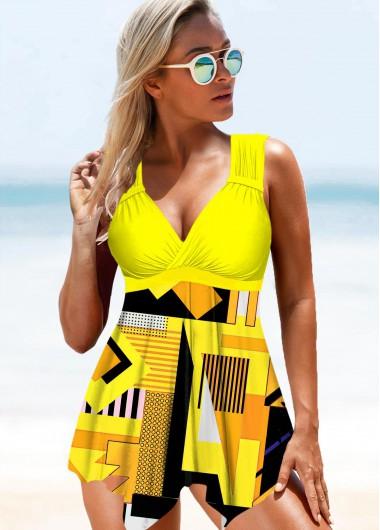 Wide Strap Yellow Geometric Print Swimdress and Panty - XS