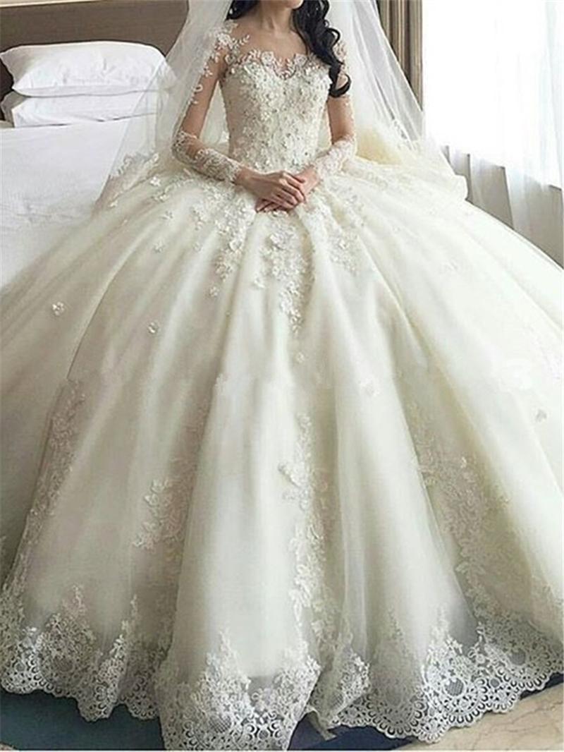Ericdress Scoop Appliques Long Sleeves Ball Gown Wedding Dress