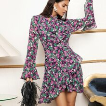 Tie Neck Flounce Sleeve Ruffle Trim Ruched Floral Dress