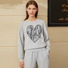 AMII Sweatshirt mit Graffiti & Buchstaben Grafik und sehr tief angesetzter Schulterpartie