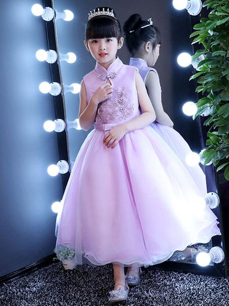 Milanoo Vestido para las damitas Rosa purpura con escote Ilusion con lazo sin mangas