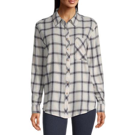 Arizona-Juniors Womens Long Sleeve Flannel Shirt, 3x-large , White