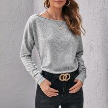 Drop Shoulder Marled Knit Tee