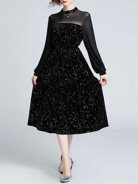 Milanoo Vestidos de fiesta negros Vestido semi formal de manga larga con cuello alto para mujer