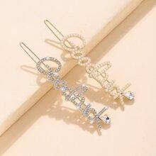 2 piezas horquilla con letra con diamante de imitacion
