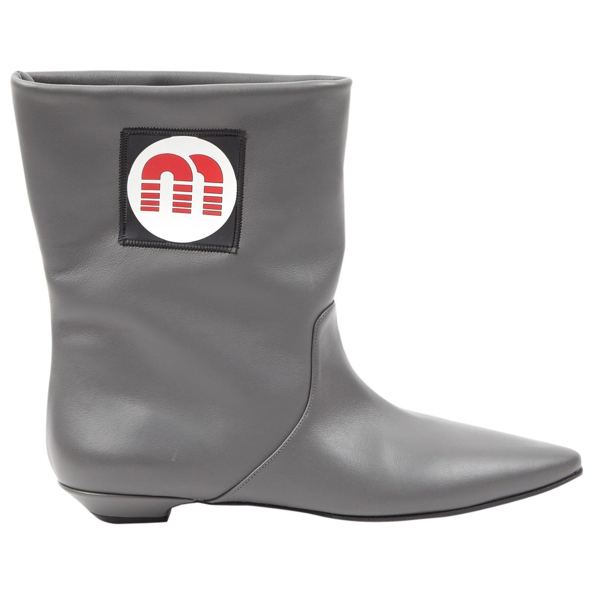 Miu Miu \N Stiefel in  Grau Leder