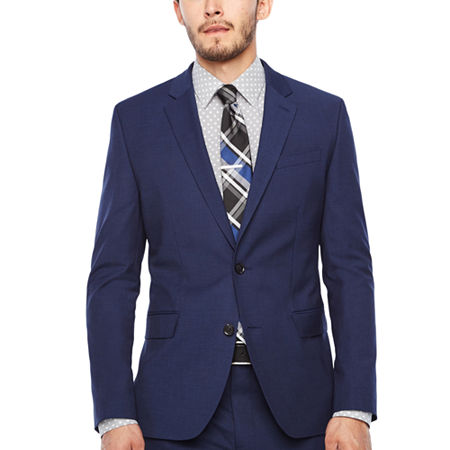 JF Dark Blue Texture Jacket-Super Slim, 42 Long, Blue
