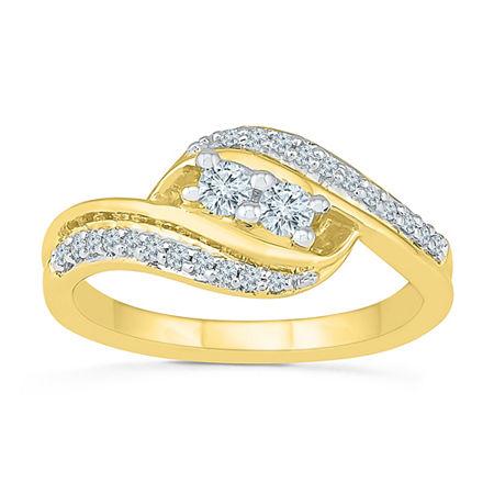 2MM 1/3 CT. T.W. Genuine White Diamond 10K Gold Band, 9 , No Color Family