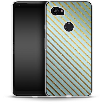 Google Pixel 2 XL Silikon Handyhuelle - Gold Foil Stripe von Khristian Howell