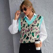 Pulloverweste mit Grafik Muster und Kontrast Bindung