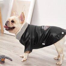 1 Stueck Hund Leder Mantel mit Stickereien und Flicken Dekor