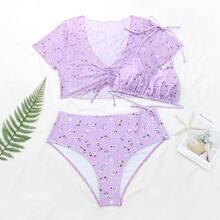 3pack Plus Ditsy Floral Halter Bikini Swimsuit