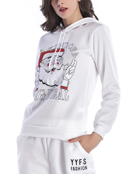 Yoins Active Round Neck Printed Design Christmas Sports Hoodies in White