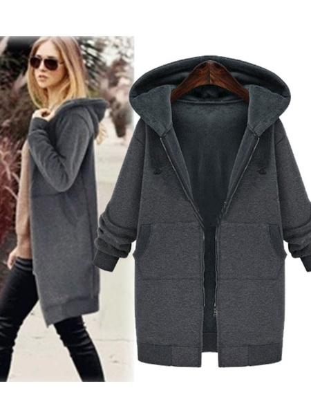 Milanoo Women\'s Cardigans Hoodie Grey Long Sleeves Cotton Blend Hooded Sweatshirt Winter Outerwear
