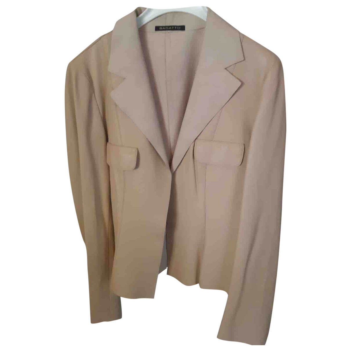 Non Signé / Unsigned \N Beige Leather jacket for Women 44 IT