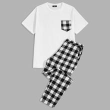 Maenner T-Shirt mit Tasche Flicken und Hosen PJ Set
