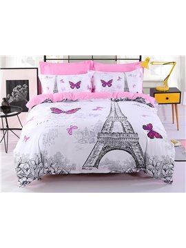 Eiffel Tower & Butterfly White Polyester Printing 4-Piece Bedding Sets/Duvet Cover