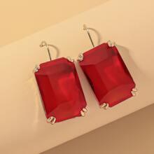 Rectangle Gemstone Decor Drop Earrings