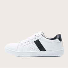 Lace-up Front Perforated Decor Skate Shoes