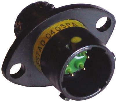 Souriau , 8STA 3 Way Panel Mount MIL Spec Circular Connector Receptacle, Socket Contacts,Shell Size 04, Bayonet Coupling, Black