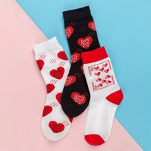 3pairs Letter Graphic Socks