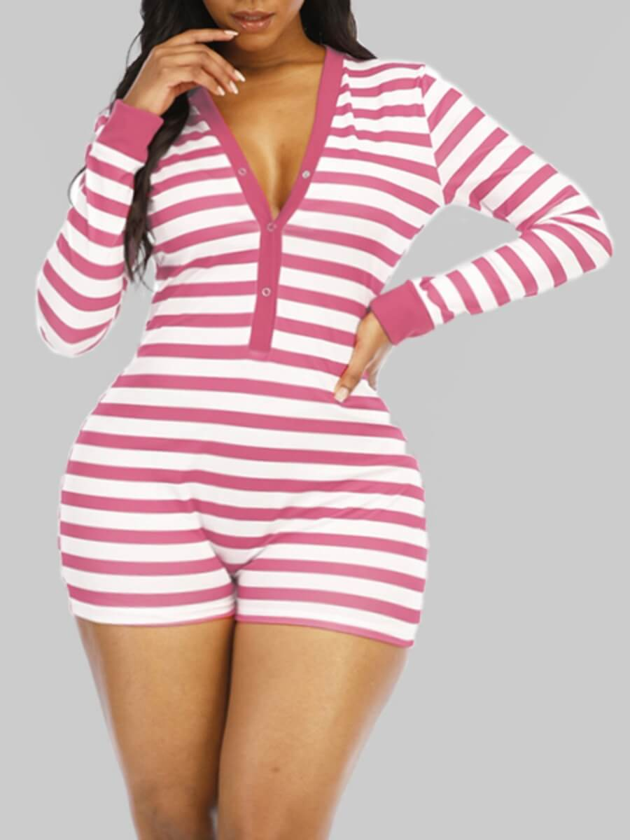 LW Lovely Sexy V Neck Striped Pink Plus Size One-piece Romper
