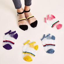 Calcetines de malla de bloques de color de 5 pares