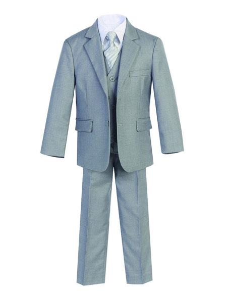 Kids Boys Two Buttons 5 Piece Set Cotton Blend Formal Light Gray Suit