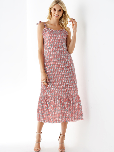 Yoins Pink Random Floral Print Straps Knotted Dress