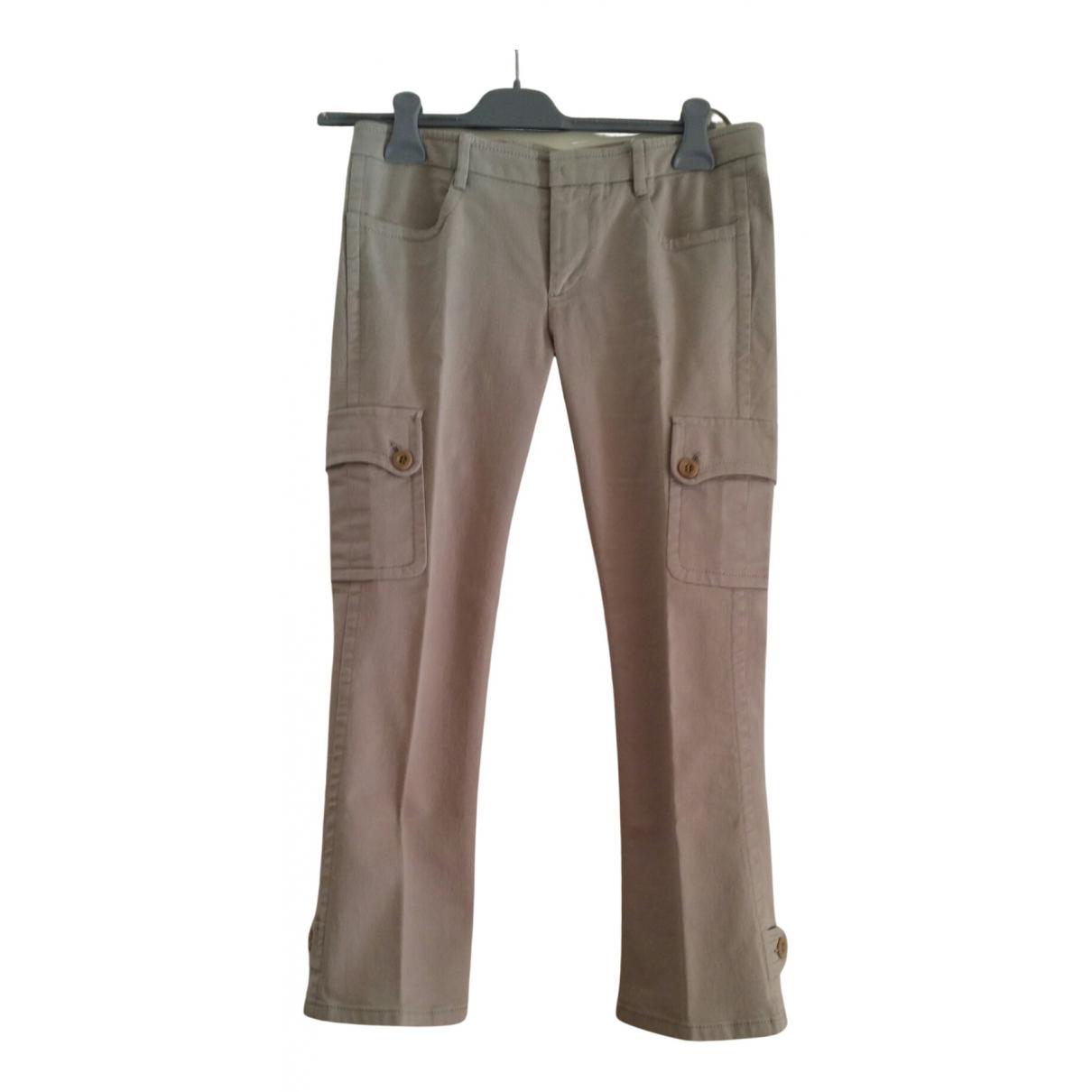 Pantalon en Algodon Beige Miu Miu