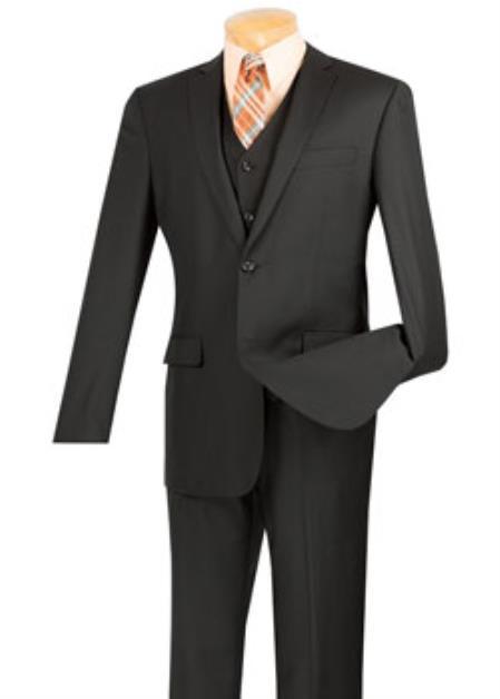 Men's Black 3 Piece 1 Wool Executive Suit - Narrow Leg Pants