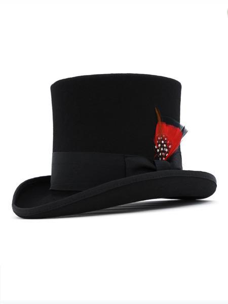 Mens 1 Wool Felt Black Top Hat