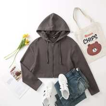 Zip Up Crop Drawstring Hoodie