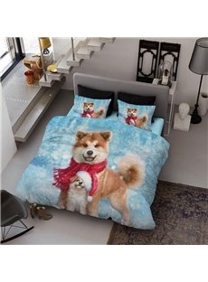 Christmas Smiling Dogs Wear-resistant Breathable High Quality 60s Cotton 4-Piece 3D Bedding Sets